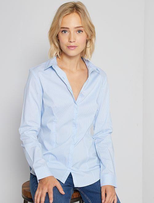 Camicia sciancrata popeline stretch a righe blu Donna
