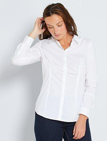 Camicia sciancrata popeline stretch - Kiabi
