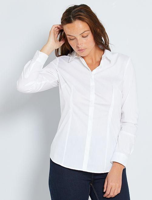 Camicia sciancrata popeline stretch                                                     bianco