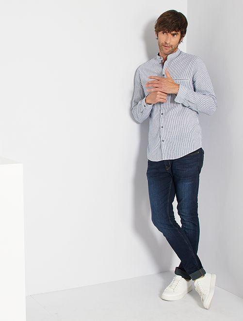 Camicia slim colletto alla coreana                                                                 a righe blu