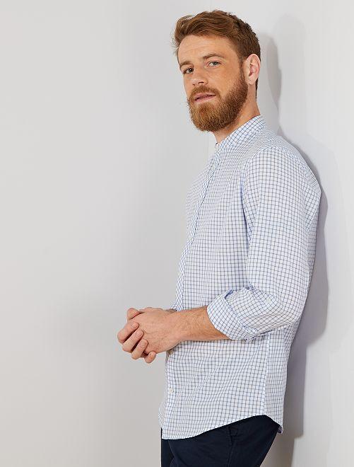 Camicia slim colletto alla coreana                             BLU Uomo