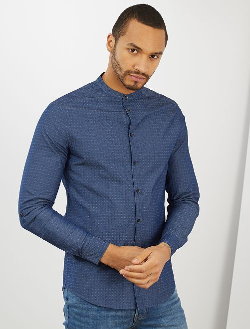 Camicia slim colletto alla coreana                                                     BLU