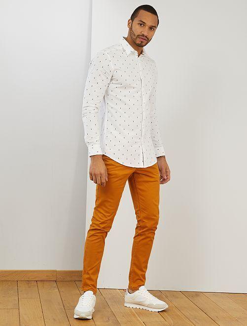Camicia slim cotone Oxford                                                                                         BIANCO