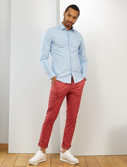 Camicia slim cotone Oxford                                                                                         BLU