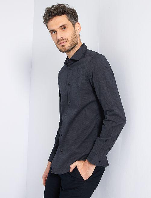 Camicia slim in cotone testurizzato                                                     nero