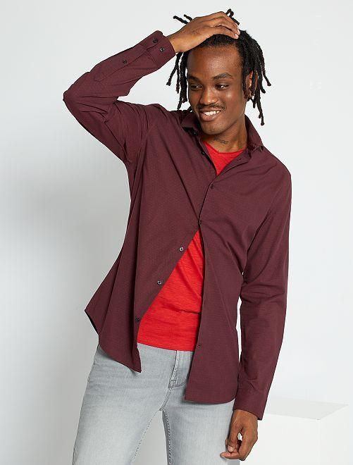 Camicia slim in cotone testurizzato                                                     rosso