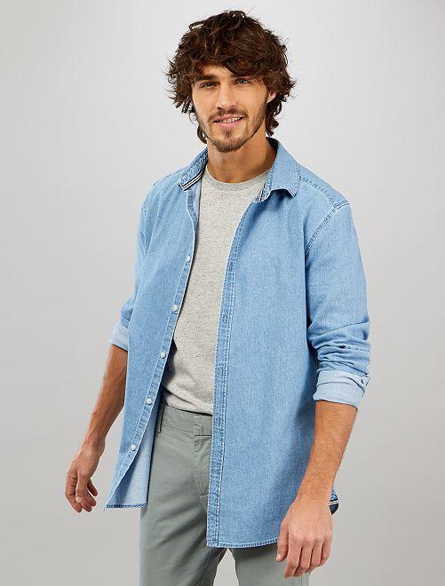 Camicia slim jeans                             stone