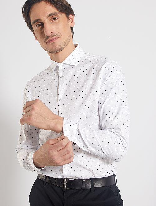 Camicia slim piqué                             bianco
