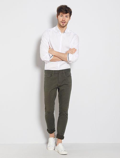 Camicia slim piqué di cotone                                                                 bianco