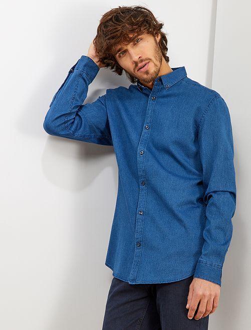 Camicia slim piqué di cotone                                                                 BLU