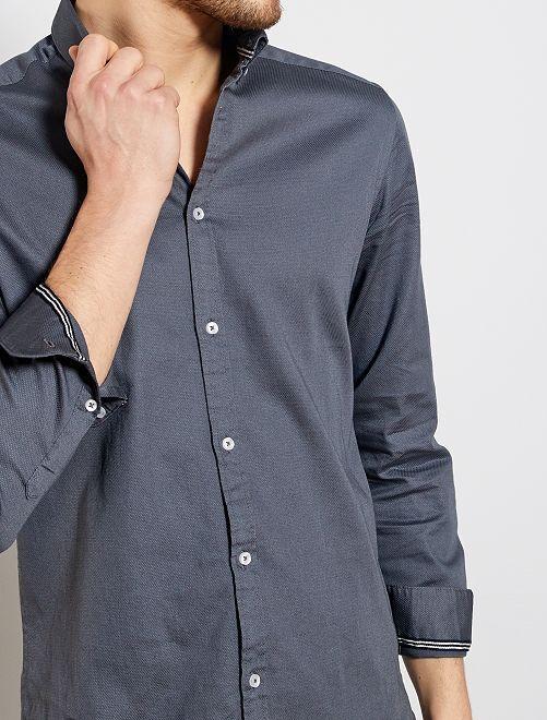 Camicia slim piqué di cotone                                                                 GRIGIO