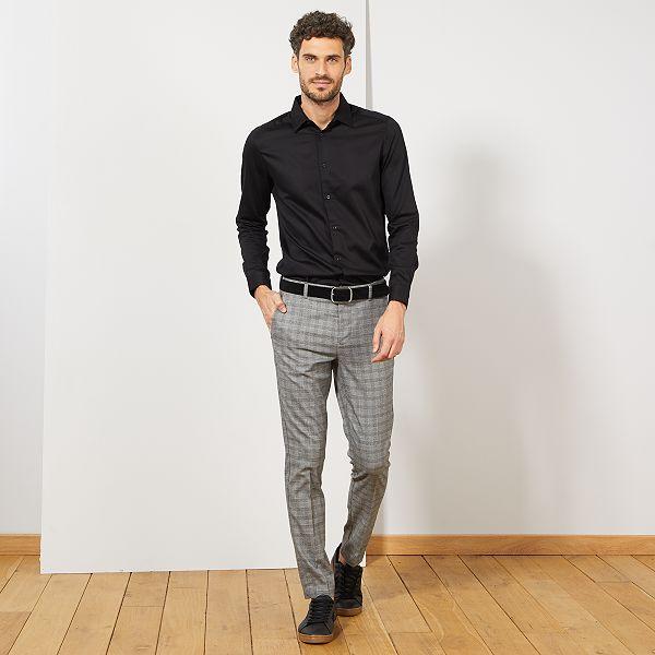 sale retailer 54d8d 59f99 Camicia slim raso di cotone Uomo - nero - Kiabi - 15,00€