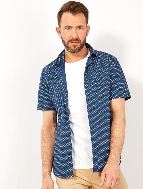 Camicia slim stampa Vichy                                                                                                                                                                                                                                 BLU Uomo