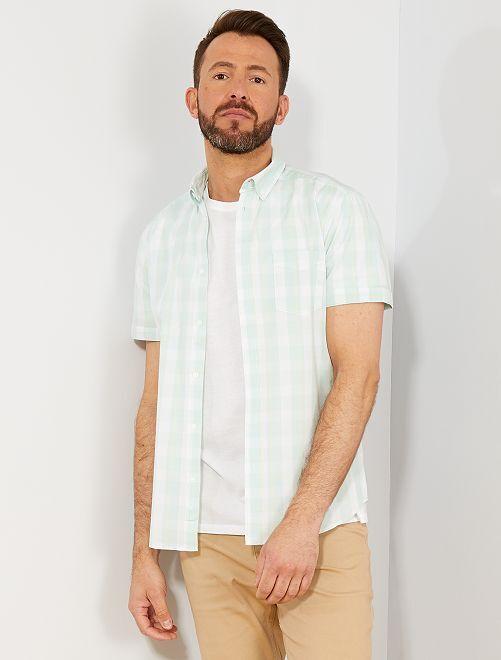 Camicia slim stampa quadretti                                                                 BLU