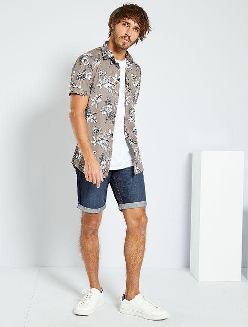 Camicia slim stampa tropicale                                                                                                                 GRIGIO