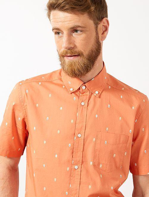 Camicia slim stampata                                                                                                                                                                                                                                         ARANCIONE Uomo