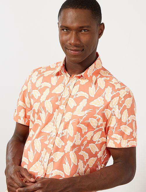 Camicia slim stampata                                                                                                                             ROSA Uomo