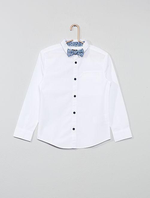 Camicia stampata + farfallino                     BIANCO Infanzia bambino