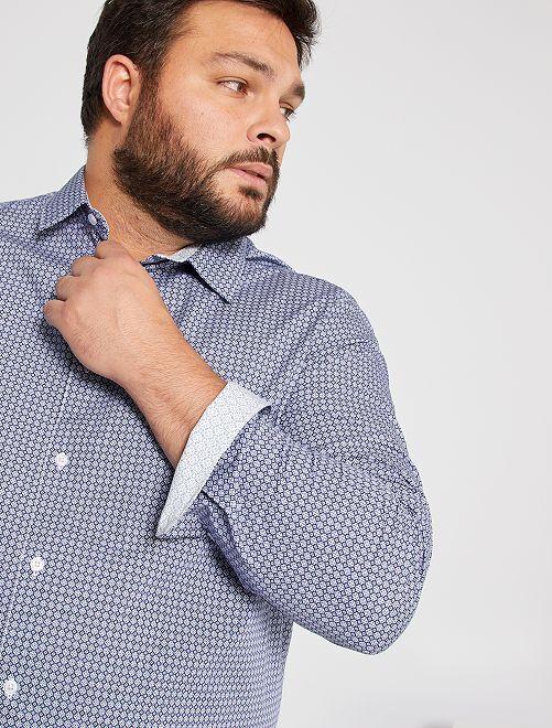 Camicia stampata in cotone                                         BLU