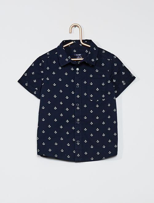 Camicia stampata in flanella                                         BLU