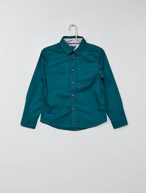 Camicia tinta unita twill                                         blu anatra Infanzia bambino