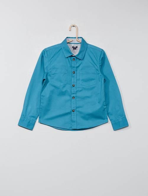Camicia tinta unita twill                                         blu Infanzia bambino