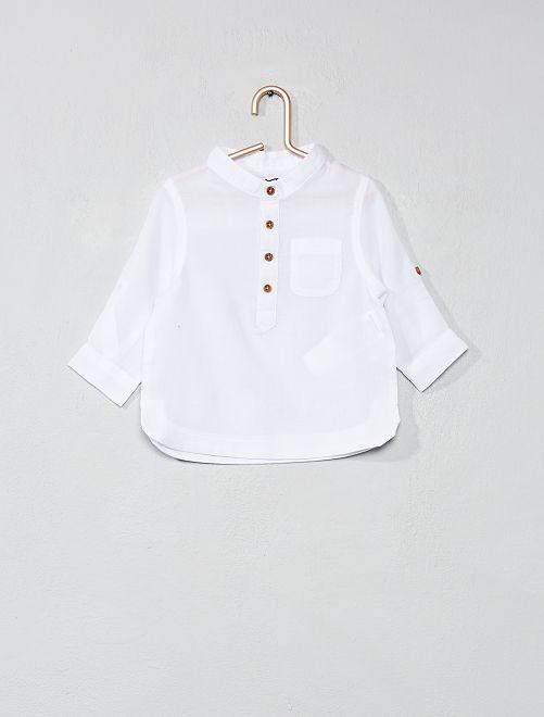 Camicia voile di cotone collo alla coreana                             bianco