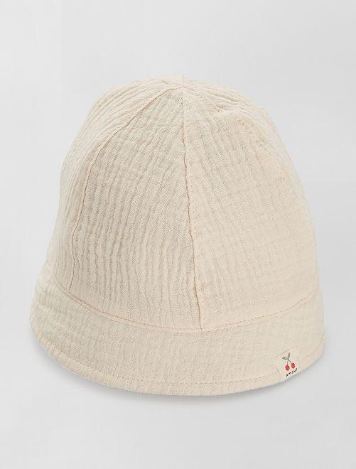 Cappellino bob in ciniglia di cotone                                         BEIGE