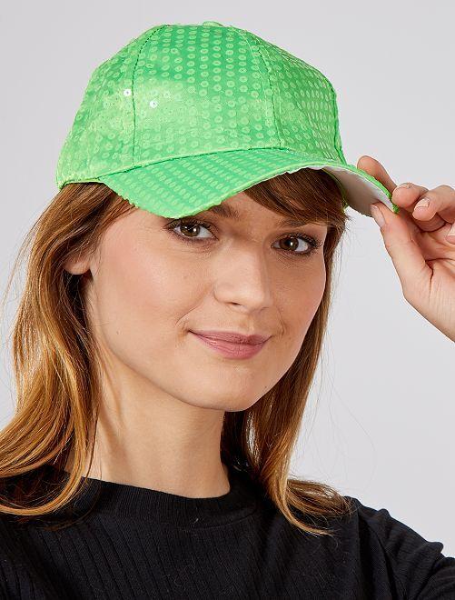 Cappellino paillette fluorescenti                                                     verde