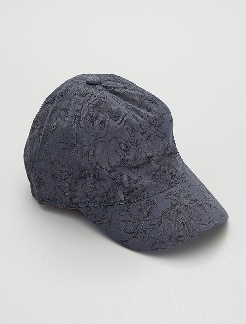 Cappellino ricamato e stampato 'rinoceronti'                                         BLU