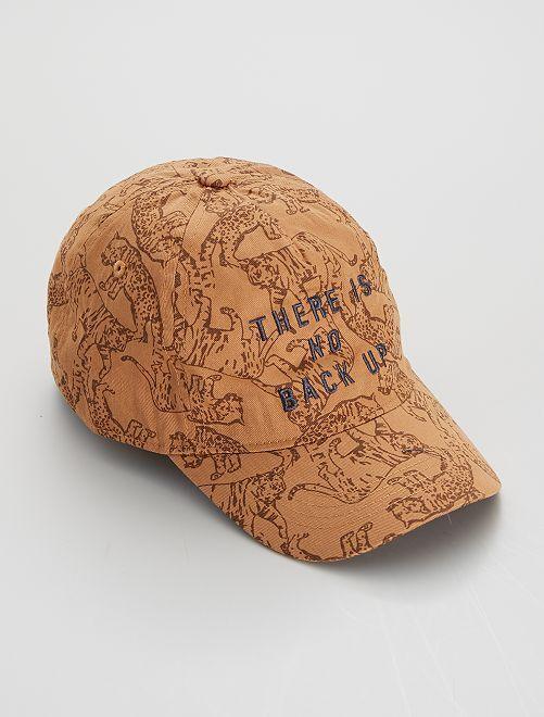 Cappellino ricamato e stampato 'tigri'                                         MARRONE