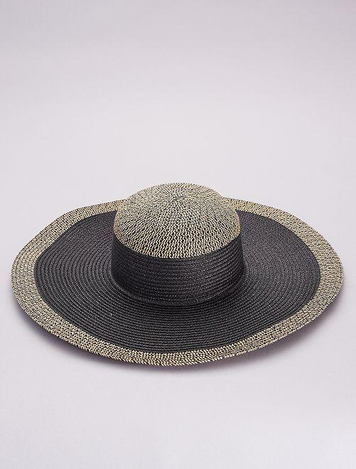 Cappello a falde larghe rafia bicolore                             nero/beige