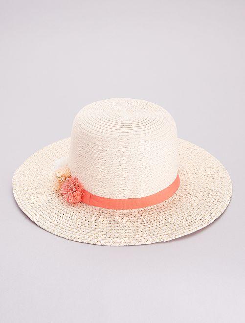 Cappello stile bordo largo con fili dorati                     ROSA