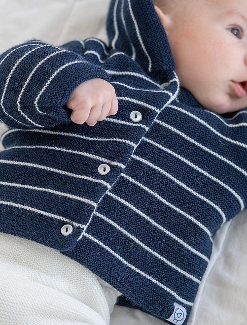Cappottino lavorato a maglia 'La Manufacture de Layette'                                         BLU