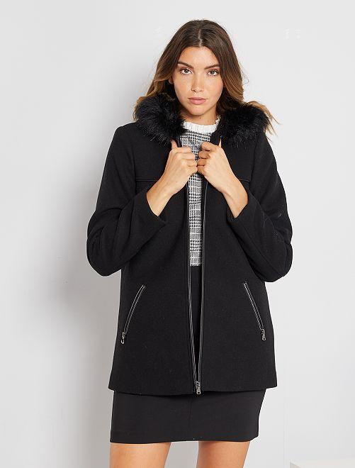 Cappotto aspetto lana con cappuccio                                                                 nero