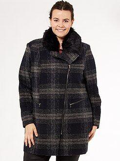 Taglie forti donna Cappotto con zip collo pelliccia ecologica