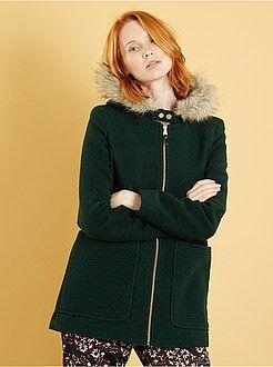 Cappotti - Cappotto effetto lana con cappuccio