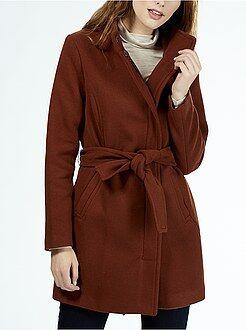 Cappotti - Cappotto effetto lana da chiudere con cintura e collo montante