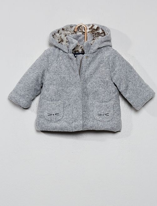 Cappotto effetto lana foderato                             GRIGIO