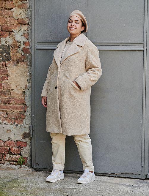 Cappotto in maglia bouclé                             BIANCO