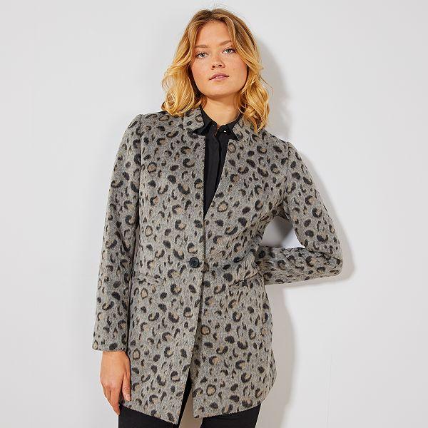 pretty nice 6bdc0 ed063 Cappotto leopardato effetto lana Donna - GRIGIO - Kiabi - 30,00€