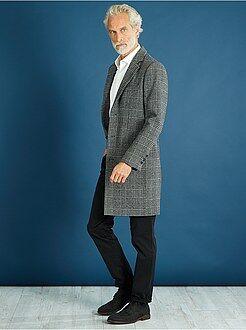 Giacche - Cappotto lungo effetto lana a quadretti