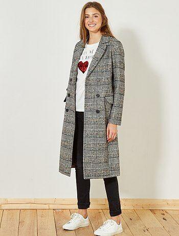 Cappotto lungo lana 'Principe di Galles' - Kiabi