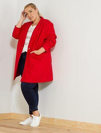 Taglie forti donna - Cappotto mezza lunghezza taglio dritto - Kiabi