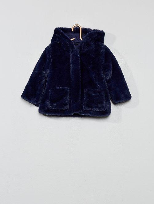 Cappotto pelliccia ecologica cappuccio                                                                 BLU Neonata