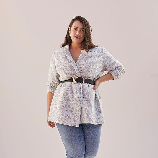 buy online 86aac f339a Cappotto stile panno di lana Taglie forti donna - GRIGIO ...