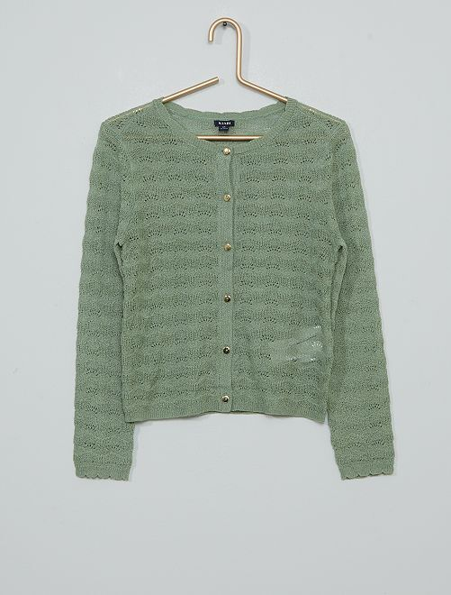 Cardigan a maglia fine traforato                                         verde grigio