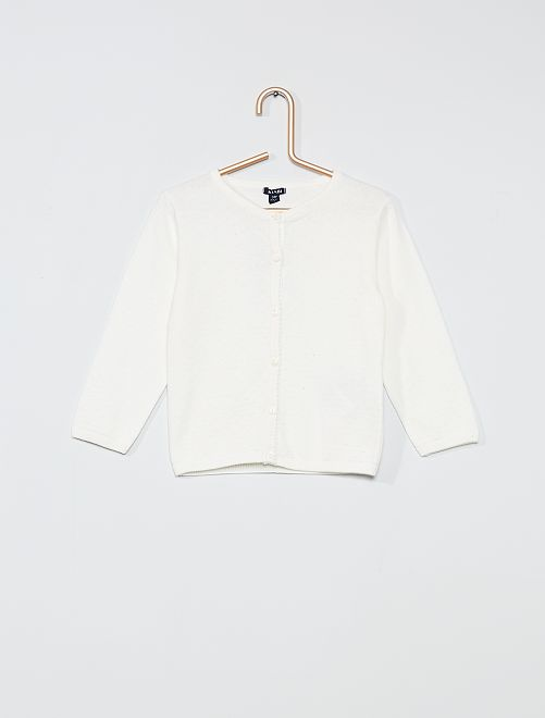 Cardigan con plumetis                                                     bianco neve