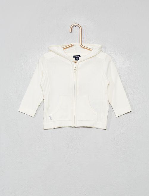 Cardigan con zip all'uncinetto con cappuccio                                         bianco neve