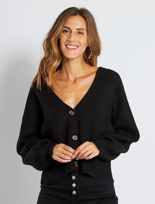 Cardigan in maglia con bottoni                                                                                                     nero